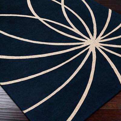 Dewald Dark Blue/Antique White Area Rug Rug Size: Round 4