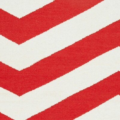 Marion Orange-Red/White Chevron Area Rug Rug Size: 2 x 3