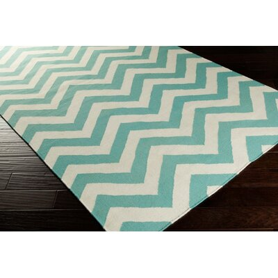 Diego Winter White/Sea Blue Chevron Area Rug Rug Size: Rectangle 36 x 56