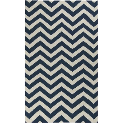 Diego Midnight Blue/Papyrus Chevron Area Rug Rug Size: Rectangle 2 x 3