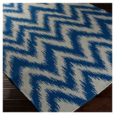 Marion Dark Blue/Dove Grey Zig Zag Area Rug Rug Size: 36 x 56