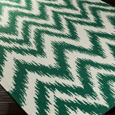 Marion Juniper & Winter White Zig Zag Area Rug Rug Size: 5 x 8