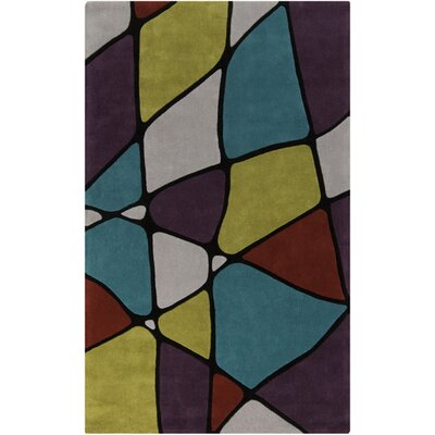 Deveau Sea Blue/Moss Area Rug Rug Size: 36 x 56