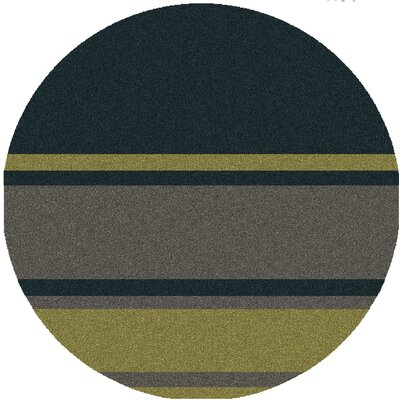 Deveau Charcoal/Green Rug Rug Size: Round 8