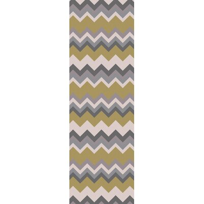 Diego Chevron Green/Gray Area Rug Rug Size: 2 x 3