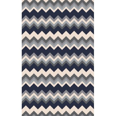 Diego Gray/Navy Chevron Area Rug Rug Size: Runner 26 x 8