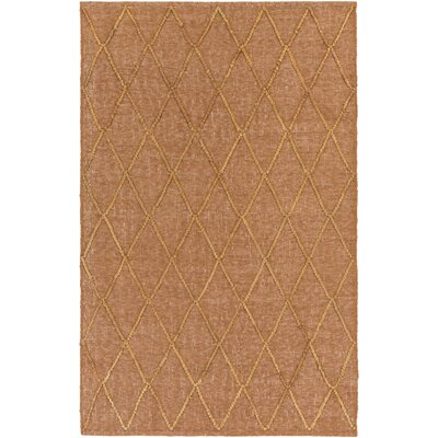 Rachelle Hand-Woven Camel/Burnt Orange Area Rug Rug size: 9 x 13