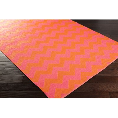 Lorene Hand-Woven Bright Pink/Bright Orange Outdoor Area Rug Rug size: Rectangle 8 x 11