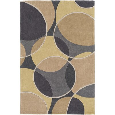 Deveau Hand-Tufted Geometric Area Rug Rug size: Round 8