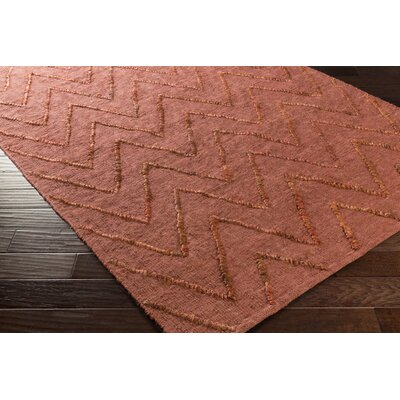Rachelle Hand-Woven Rust Area Rug Rug size: Rectangle 9 x 13