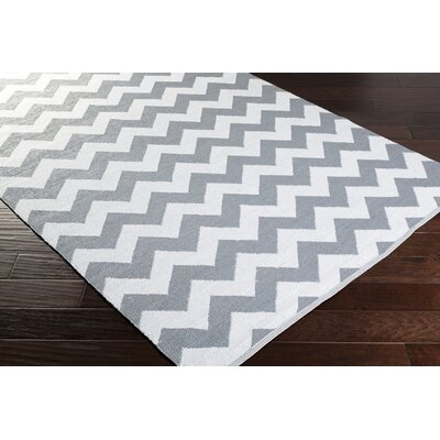 Lorene Hand-Woven Medium Gray/White Outdoor Area Rug Rug size: Rectangle 33 x 53