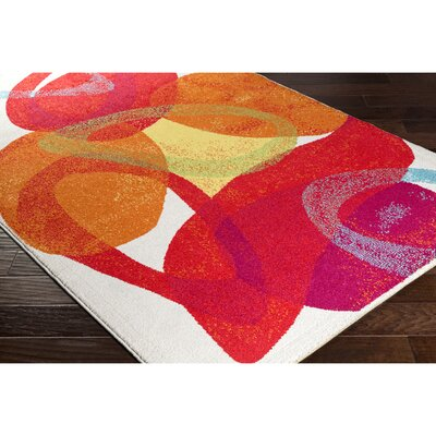 Dillsboro Neutral/Red Abstract Area Rug Rug Size: 53 x 77
