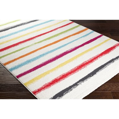 Dillsboro Neutral/Black Striped Area Rug Rug Size: Rectangle 53 x 77