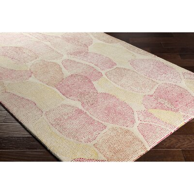 Rosalind Hand-Tufted Neutral/Pink Area Rug Rug Size: 5 x 76