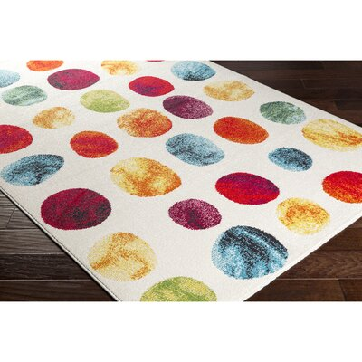 Dillsboro Neutral/Red Area Rug Rug Size: 53 x 77