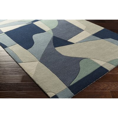 Dewald Hand-Tufted Blue Area Rug Rug Size: Rectangle 2' x 3'