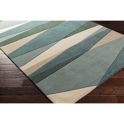 Dewald Hand-Tufted Dark Green Area Rug Rug Size: Square 4
