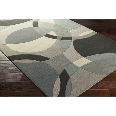 Dewald Hand-Tufted Neutral/Blue Area Rug Rug Size: Round 4