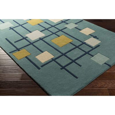 Dewald Hand-Tufted Teal Blue Area Rug Rug Size: Square 6