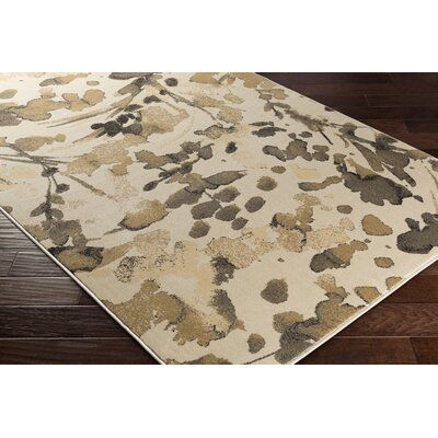 Divernon Beige Floral and Plants Area Rug Rug Size: 53 x 76