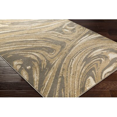 Divernon Beige/Brown Abstract Area Rug Rug Size: 53 x 76