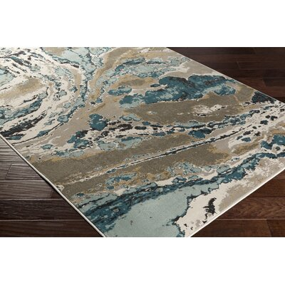 Divernon Beige/Blue Abstract Area Rug Rug Size: 53 x 76