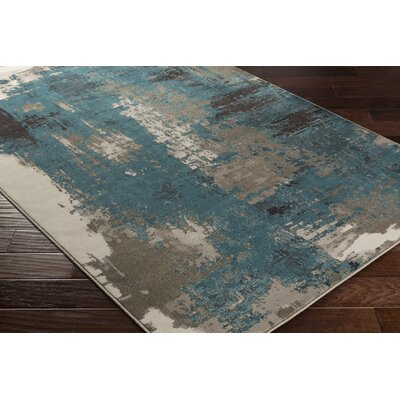Divernon Beige/Blue Area Rug Rug Size: Rectangle 53 x 76