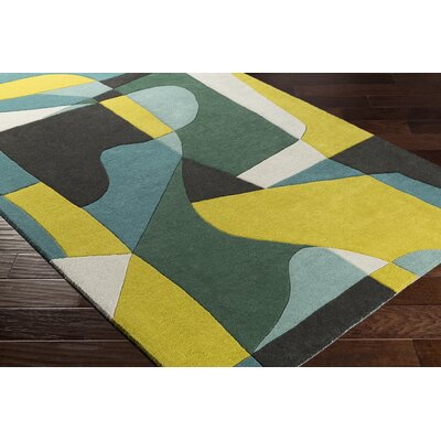 Dewald Hand-Tufted Green/Yellow Area Rug Rug Size: Round 6