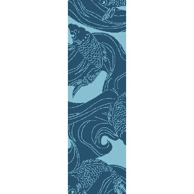 Kahleel Aqua Indoor/Outdoor Area Rug Rug Size: Runner 26 x 8