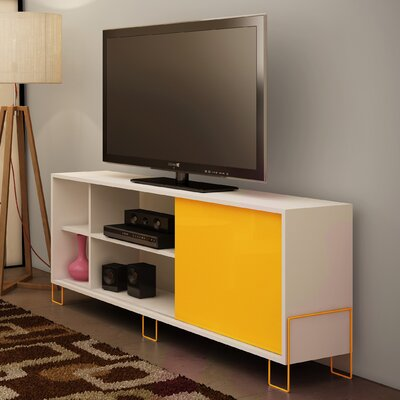 Erica 53 TV Stand Color: White/Yellow