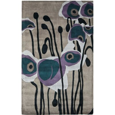 Freda Hand-Tufted Gray/Blue Area Rug Rug Size: Round 6