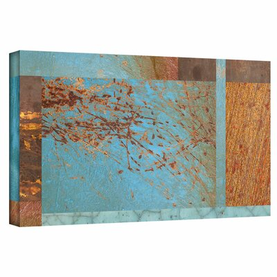 'Blue Brown Collage' Graphic Art on Wrapped Canvas Size: 12