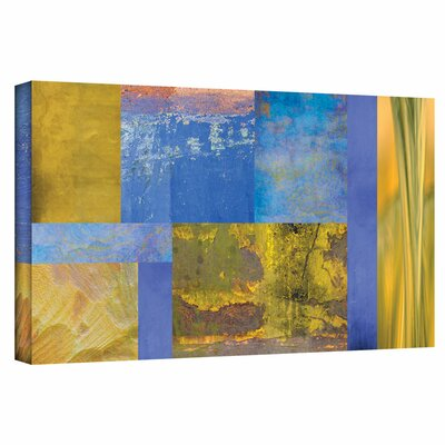 'Blue Yellow Collage' Graphic Art on Wrapped Canvas Size: 12