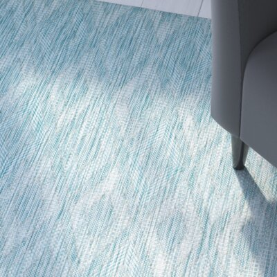 Lefferts Aqua Indoor/Outdoor Area Rug Rug Size: Rectangle 2 x 37