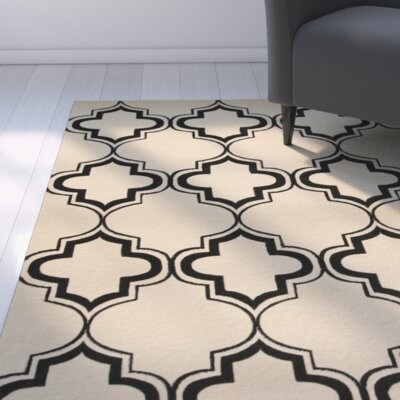 Lashley Ivory/Black Area Rug Rug Size: 53 x 77