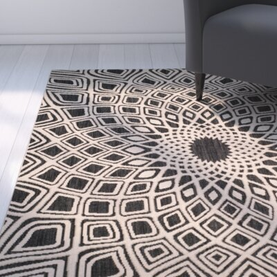 Mullen Black/Beige Indoor/Outdoor Area Rug Rug Size: Rectangle 9 x 12