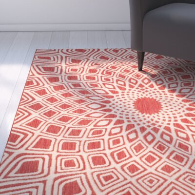 Mullen Red/Beige Indoor/Outdoor Area Rug Rug Size: Rectangle 27 x 5