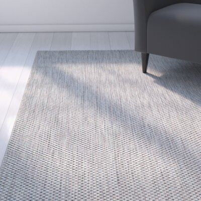 Estella Gray / Navy Indoor/Outdoor Area Rug Rug Size: 67 x 96