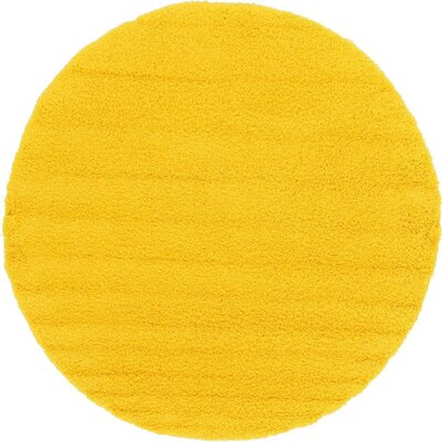 Madison Basic Dark Yellow Area Rug Rug Size: Round 82, Color: Yellow