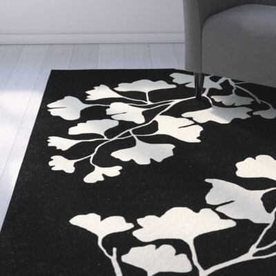 Frances Hand-Tufted Black / Ivory Area Rug Rug Size: 3 x 5