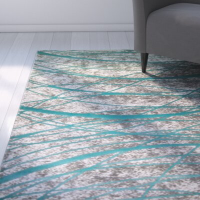 Tricia Teal/Gray Area Rug Rug Size: 27 x 66