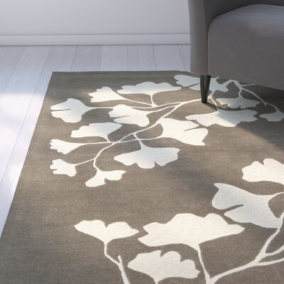 Frances Hand-Tufted Grey / Ivory Area Rug Rug Size: 3 x 5