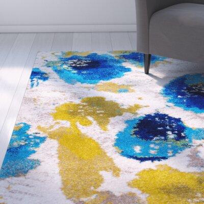 Greta White/Blue Area Rug Rug Size: 52 x 72