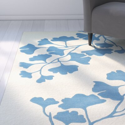 Frances Hand-Tufted Light Blue / Ivory Area Rug Rug Size: 9 x 12