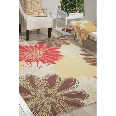 Avis Brown/Green/Red Indoor/Outdoor Area Rug Rug Size: 53 x 75
