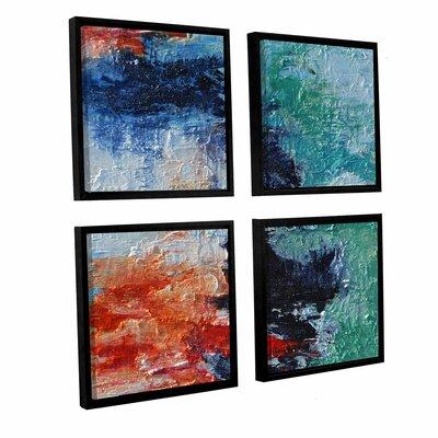 'Shoreline' 4 Piece Framed Painting Print Set Size: 36