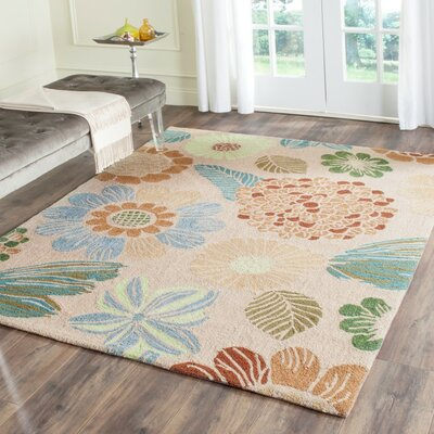 Hayes Hand-Hooked Creme Indoor/Outdoor Area Rug Rug Size: Rectangle 8 x 10