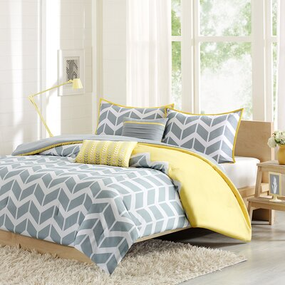 Willard Duvet Cover Set Size: Full / Queen, Color: Yellow