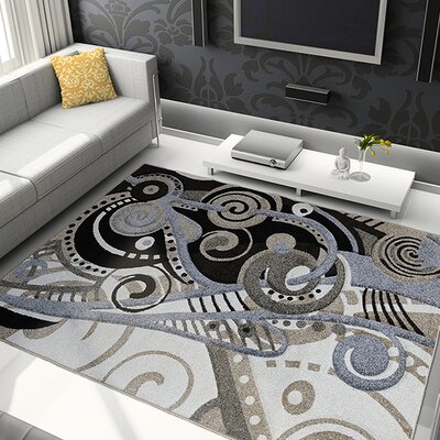 Schmitt Hand-Carved Gray/Black Area Rug Rug Size: 52 x 72