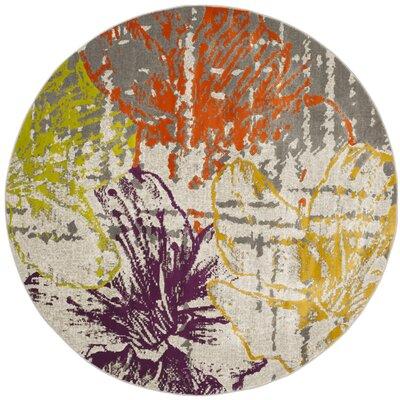 Nanette Beige/Gray Area Rug Rug Size: Round 51